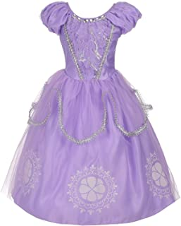 Dressy Daisy Girls Princess Sofia Dress Up Costumes Halloween Fancy Party Dress Silver Trimmed