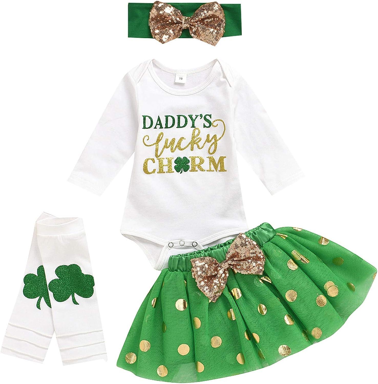 Newborn Baby Girls Clothes My 1st St. Patrick's Day Long Sleeve Romper+Tutu Skirts+Leg Warmers+Headband 4pcs Outfits Set