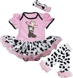 Petitebella Cowgirl Boot and Hat Pink Bodysuit Cow Baby Dress Leg Warmer Nb-18m