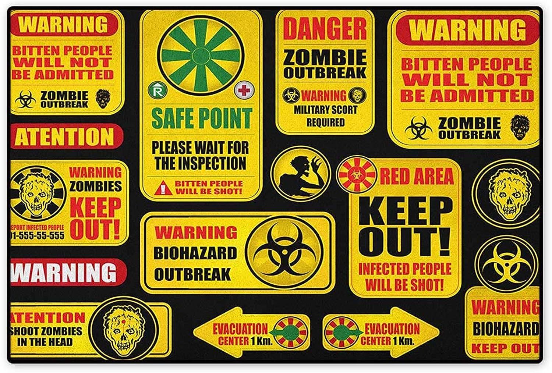 Zombie,Door Mat Signs Attention Danger Safe Point Evil