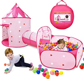 VOJUEAR 3pc Boys & Girls Play Toy Tents and Tunnels,Princess Fairy Tale Castle Play Tent Crawl Tunnel & Ball Pit with Bask...