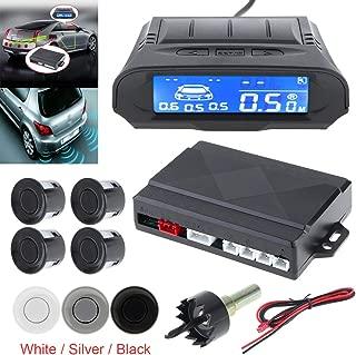 Universal Full Digital Distance LCD Display Car Monitor Parking Sensor Kit Auto Radar Detector 4 Sensors Alarm Indicator Reverse Backup Radar System (White)