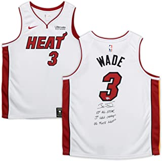 Dwyane Wade Miami Heat Autographed Nike White Swingman Jersey with Multiple Inscriptions - Limited Edition 25 - Fanatics Authentic Certified