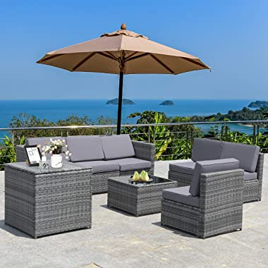 Tangkula 8 PCS Outdoor Patio Furniture Set, Rattan Wicker Sofa Set, Sectional Sofa Couch Conversation Set w/Storage Table and