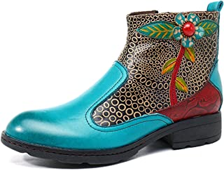 socofy Leather Ankle Bootie, Women's Vintage Handmade Flat Retro Buckle Pattern Turquoise Size: 5