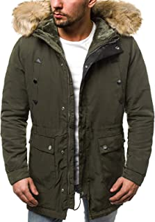 dick Baumwoll-Mantel mit abnehmbarer Kapuze Outwear lang winddicht Blfgncob Herren Parka Wintermantel gepolsterte Jacke warm