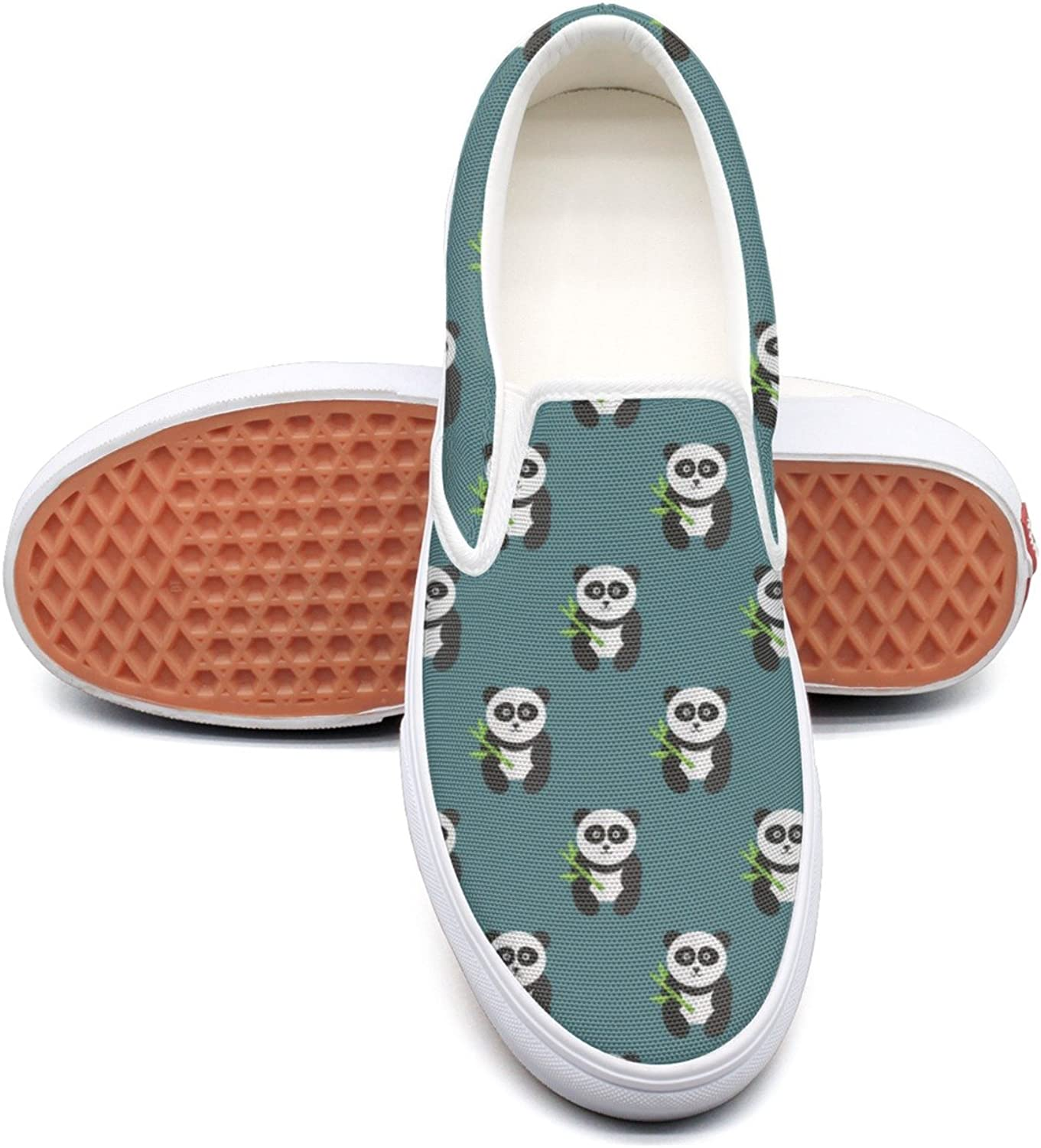Refyds-es Large Panda Bear with Cute Animals Women's Fashion Slip On Low Top Lightweight Canvas Sneaker