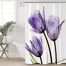 Elegant Tulip Purple Flower Design Polyester Fabric Shower Curtains Stall Bathroom Curtains with Hooks(36