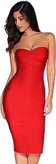 Women's Knee Strapless Bandage Bodycon Party Dress