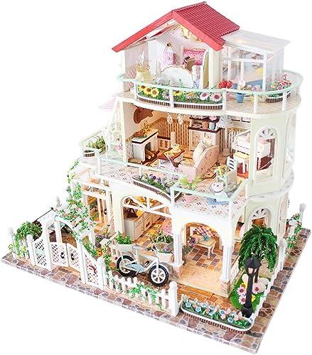 Seciie DIY Puppenhaus aus Holz mit Zubeh Miniatur Dollhouse Kits mit Licht und Musik für Jugendliche und Erwachsene, H  29,5cm