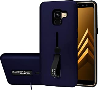 Samsung Galaxy A8 Plus 2018 Matte Shockproof Ring Stand PCplusTPU Back Case Cover - Navy Blue