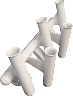 FISHMASTER MARINE TOWERS AND ACCESSORIES 5 Rod Holder -Fishing Poles- Adjustable T-Top Rocket Launcher - White - 1.9