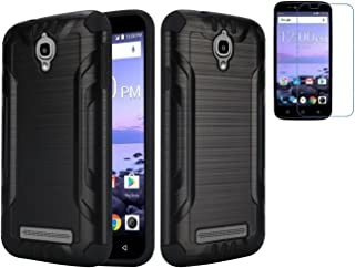 Tempered Glass+2Layer Slim Hybrid Brushed Rubber Case Cover For Coolpad Canvas 4G LTE 3636A / Splatter Phone (Black)