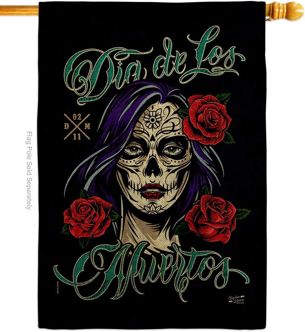 Angeleno Heritage Day of Dead La Flag Rose House Burlap Cheap mail order sales Fashionable Catrina