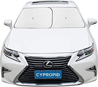 Cypropid Car Windshield Sun Shade 2-Piece Automotive Sun Blocker Foldable Front Window Sunshade, Suction Cup Design Never Slip, Fits Most Cars, UV Blocker and Heat Reflector. 31