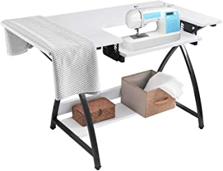 BAHOM Adjustable Sewing Craft Table Multipurpose, Sewing Machine Platform Computer Desk with Shelves, Craft Cutting Table,...