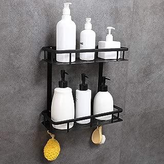 GERUIKE Bathroom Shelf 2-Tier Square Wall Mounted Space Aluminum Shower Storage Organizer Rack Adhesive No Rust No Damage, Black