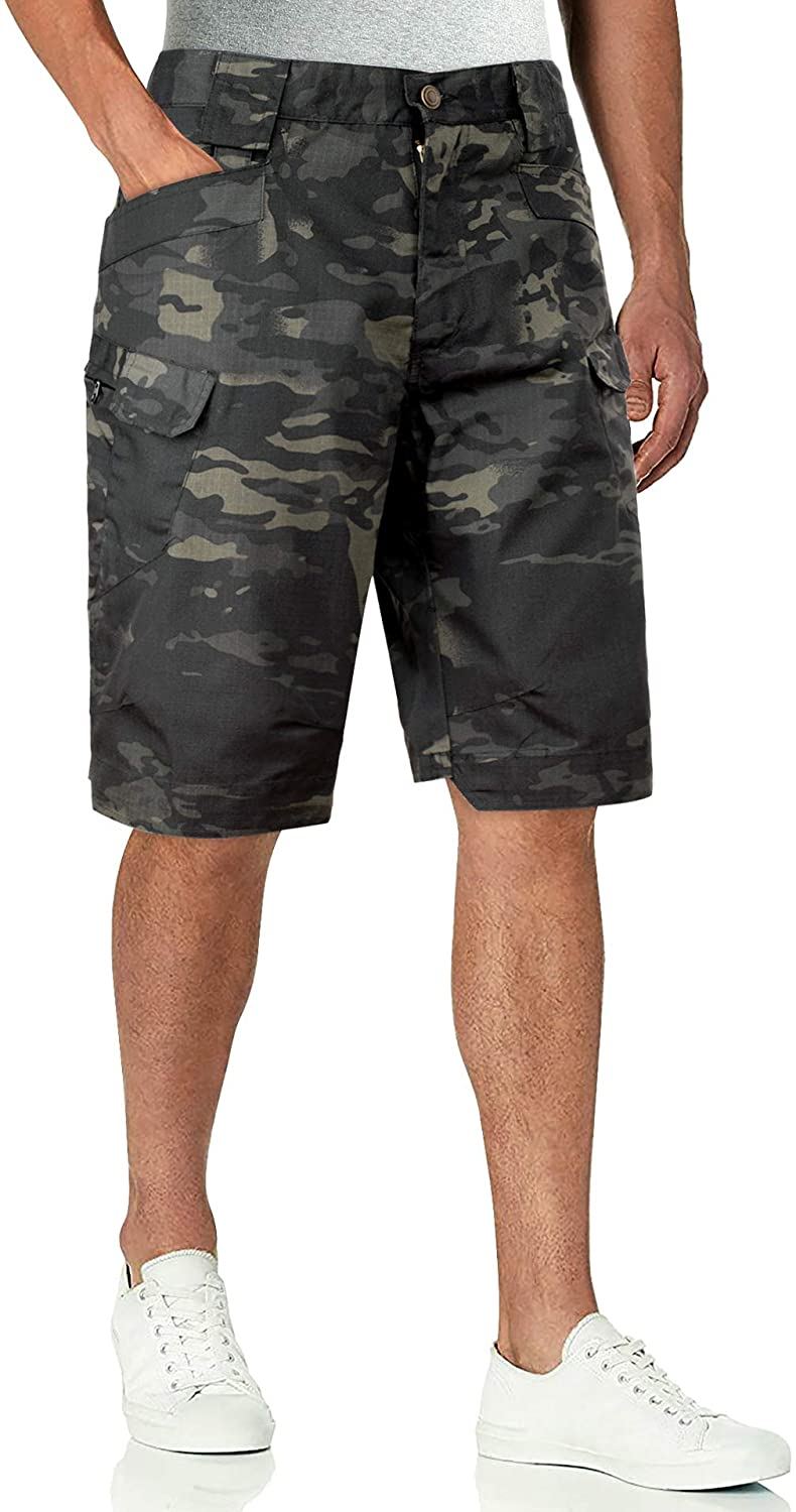 Alimens & Gentle Mens Camo Cargo Shorts Relaxed Fit Multi-Pocket Outdoor Camouflage Cargo Short, 36W