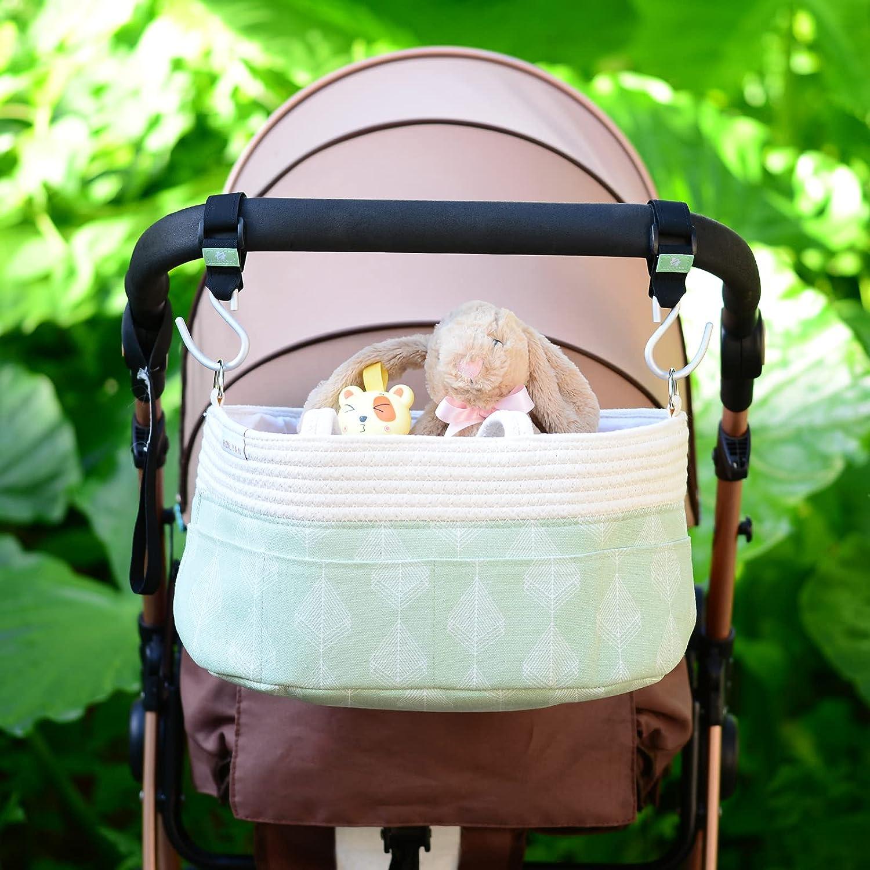 Stroller Hooks 2 Pack –for Stroller Accessory Hook, Durable Mommy Hook - Baby Stroller Hanging Hooks, Wheelchair, Rollator, Walker, Car Hooks (Green)