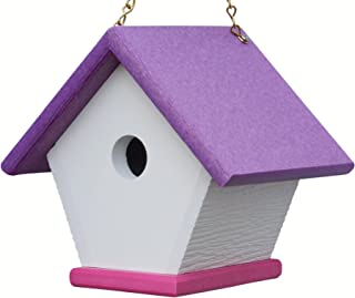 HomePro Garden Recycled Plastic Wren House: Unique and Colorful Hanging Bird Houses Handmade from Eco Friendly Materials (Purple/Pink)