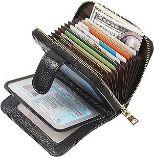 Women's RFID Blocking Credit Card Holder Genuine Leather Cute Small Zipper wallet (Black-6)