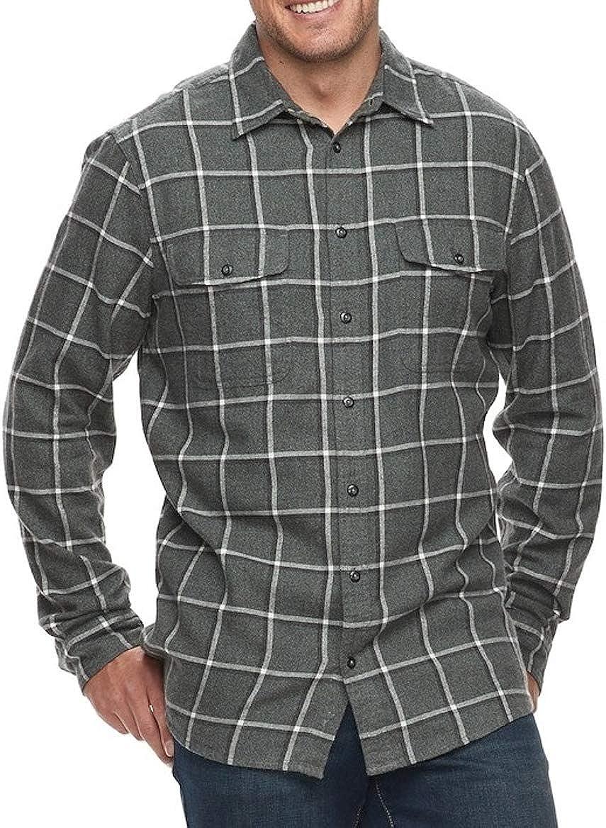 Men's Classic Fit Flannel Shirt Grey Gray Plaid 2 Pockets Long Sleeve