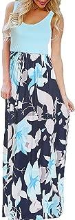 Women's Summer Boho Sleeveless Floral Print Tank Long Maxi Dress