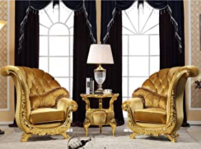 LONGren 3 Pieces Luxury Sofa Set, European Style/ (Set of Three)/43.3x34.6x43.7inches,25.6x25.6x22.8inches (Color : Gold)