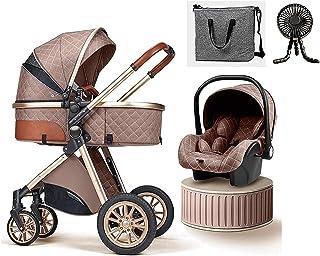 YQLWX Baby Barnvagn 3 i 1 Lyx Bassinet Barnvagn Vikbar Barnvagn Enkel Fold Barnvagn Footmuff Blanket Kylkudde Regnkåpa Ryg...