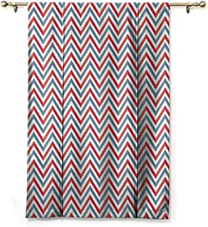 S Brave Sky Waterproof Roman Blinds,Retro,Zig Zag Chevron Style Geometric Pattern Design in Pastel Colors Print,Light Blue Red and White