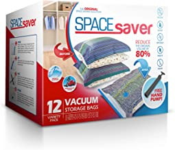 Spacesaver Premium Vacuum Storage Bags (3 x Small, 3 x Medium, 3 x Large, 3 x Jumbo) (80% More Storage Than Leading Brands) Free Hand Pump for Travel! (Variety 12 Pack)