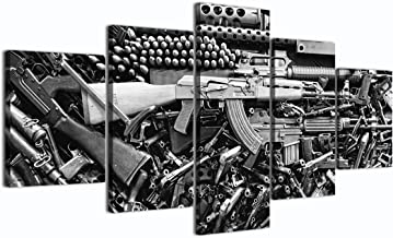 Damaged Weapon Gun Canvas Print Pictures Framed, Modern Contemporary Paintings on Canvas Posters and Prints Wall Art for Living Room Bedroom Home Decor Gallery-wrapped Art 5 Piece Set (60''W x 32''H)