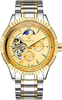 TEVISE Men Automatic Mechanical Watch Stainless Steel Strap Time & Moon Phase Display 3ATM Waterproof Male Fashion Watches...