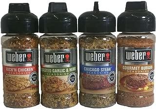 Weber Seasoning Variety 4 Flavor Pack - Kickn Chicken - Roasted Garlic & Herbs - Chicago Steak - Gourmet Burger - All Natural Shake-on Bundle