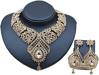 Women Fashion Jewelry Set, Water-Drop Star Rhinestone Pendant Necklace Bride Drop Dangle Earrings Jewellery Set,Stained Glass Crystal,Gold