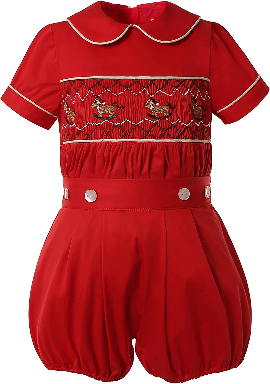 Kids 1950s Clothing & Costumes: Girls, Boys, Toddlers Pettigirl Girls Smocked Dress Unisex Smocked Outfits for Baby Girls Boys Red Christmas Fall Clothes  AT vintagedancer.com