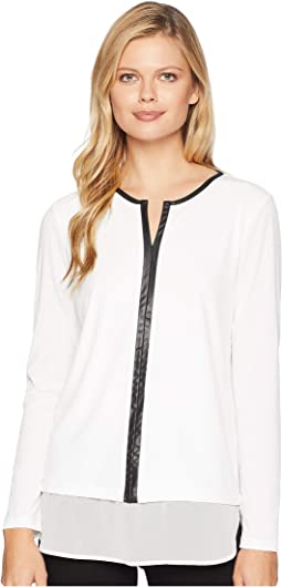 Twofer w/ Faux Leather Trim Top