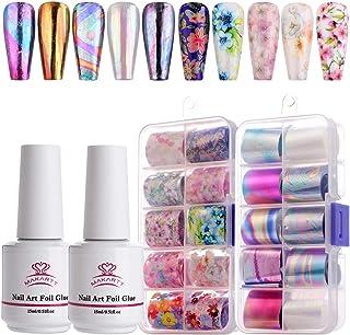 Makartt Nail Art Foil Glue Gel with Stickers Set Rose Flowers Metal Nail Transfer Gel Tips Manicure Art DIY 15ML, 20PCS (2...