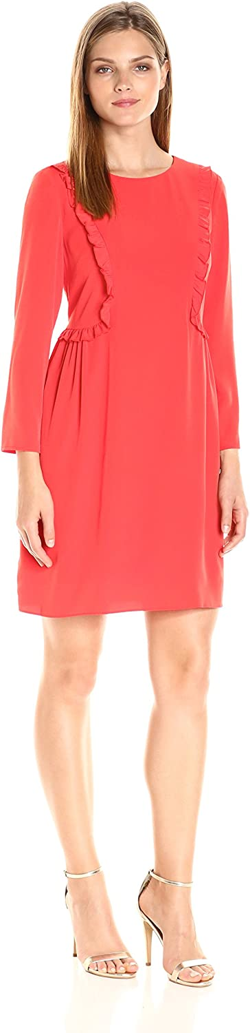 CeCe by Cynthia Steffe Womens Carly L S Ruffle Front Dress Dress