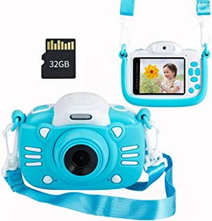 MINIBEAR Kids Digital Camera, 30MP Children's Selfie Camera for Boys and Girls, 1080P Rechargeable Video Recorder with 32G...