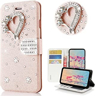 STENES Bling Case Compatible with Google Pixel 3a XL - STYLISH - 3D Handmade Crystal Pretty Heart Design Magnetic Wallet Leather Cover Compatible with Google Pixel 3a XL - Pink