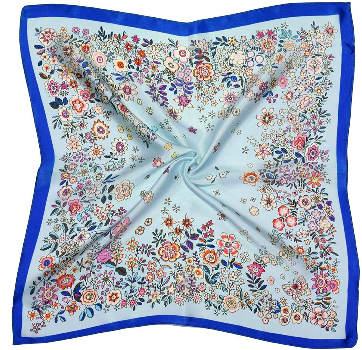 bluee Pink Flowers Thick Small Silk Square Scarf