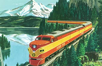 California - Southern Pacific Daylight Train Passing Mt Shasta - Vintage Halftone (16x24 Giclee Gallery Print, Wall Decor Travel Poster)