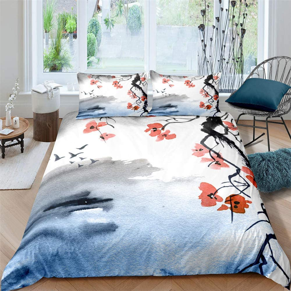 Japanese Cherry Blossoms Bedding Free Popular products shipping Set Asian Du Floral Traditional