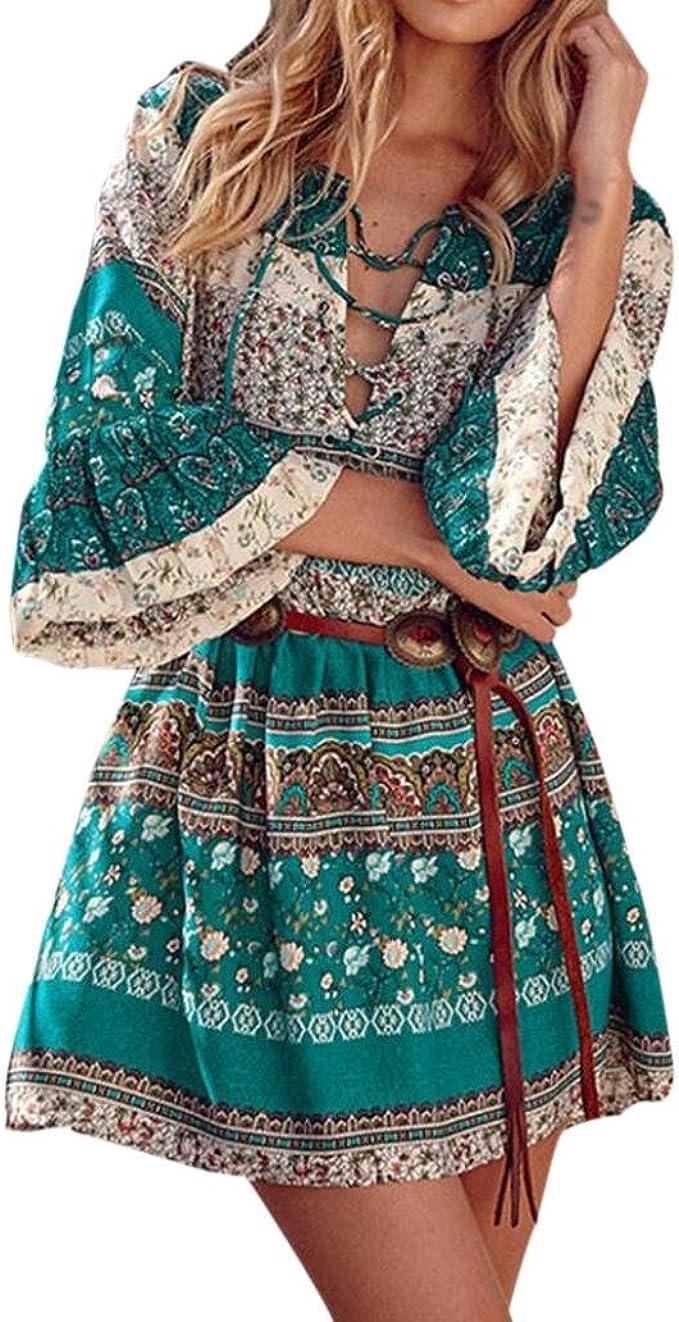 Binggong Kleid Damen, Frauen Blumendruck DREI Viertel Lose Ärmel Boho Kleid  Damen Elegant Abend Party Mode Beiläufiges Shirt Mini Schmetterlingshülse  ...