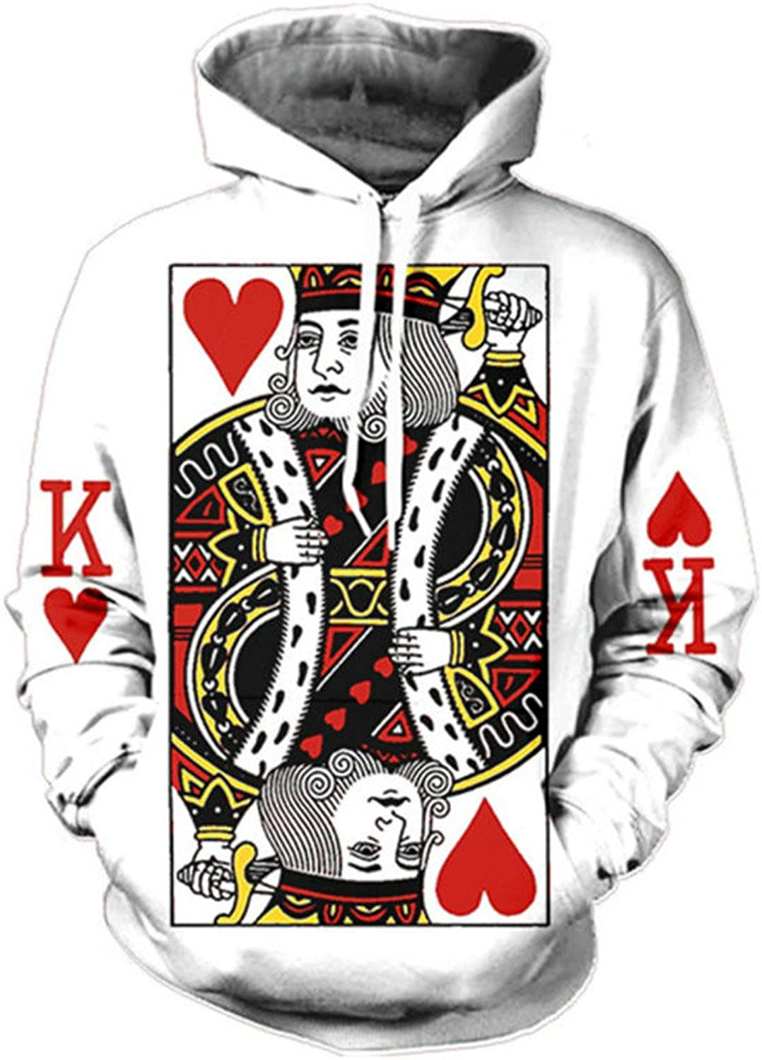 Men Hoodie 3D Graphic Print Playing Poker King Sweatshirts