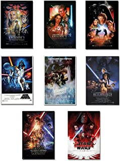 Star Wars: Episode I, II, III, IV, V, VI, VII & VIII - Movie Poster Set (8 Individual Full Size Movie Posters - Version 2) (Size: 27 inches x 40 inches Each)