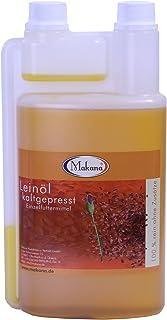 Makana Leinöl für Tiere, kaltgepresst, 100% rein, 1000 ml Dosierflasche 1 x 1 l