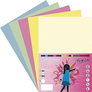 Pack 50 Cartulinas Colores Suaves Tamaño A3 180g: Amazon.es: Oficina y papelería