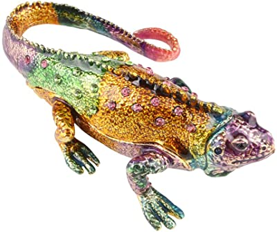 Hophen Enameled Crystal Colorful Lizard Trinket Box Chameleon Collectible Figurine 4 (colorful)